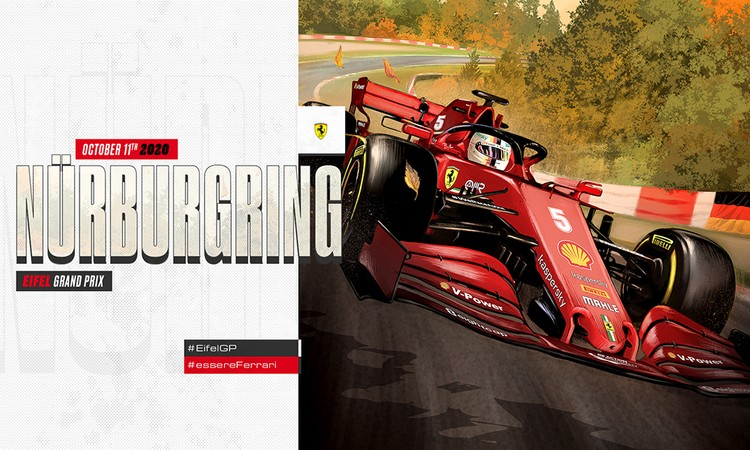The SF1000's tyres attack the verdant corners of the Nürburgring; the Ferrari one-seater is a red blur that blends with the colorful German fall.