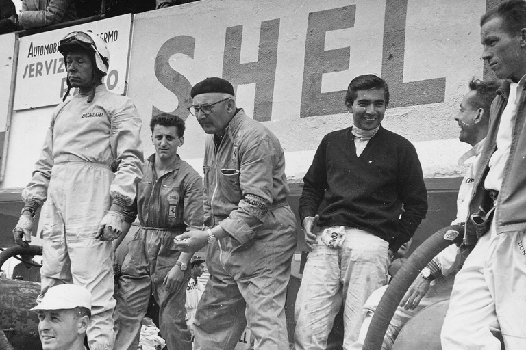 Targa Florio 1961  From Ferrari archive, copyright unknown  Ferrari drivers in the Targa Florio pits. From left to right: Olivier Gendebien (in helmet and goggles), Ricardo Rodríguez (dark jumper, and racing a 250 Testa Rossa), Phil Hill and Richie Ginther