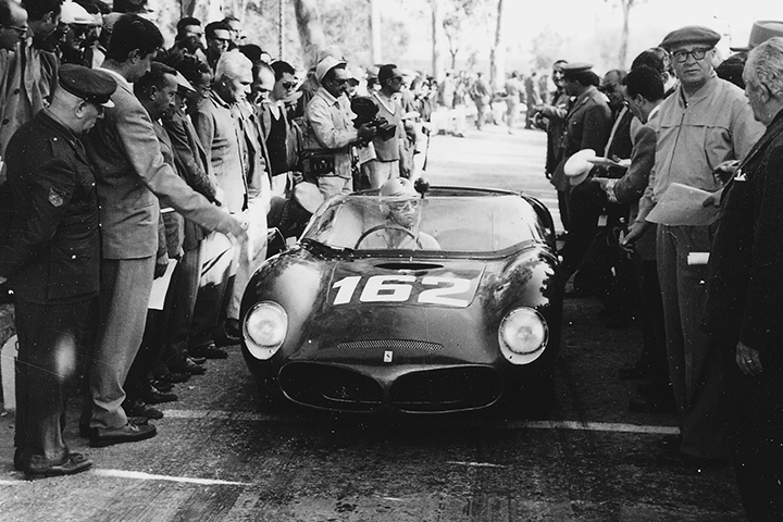 From Ferrari archive, copyright unknown  Targa Florio 1961  Wolfgang von Trips lines up at the start of the 1961 Targa Florio in the mid-engined Ferrari 246 SP