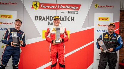 The Ferrari Challenge UK drivers were faced with very tricky conditions throughout the weekend, with several rain showers and heavy downpours during both races on the Indy Circuit on Saturday and the Grand Prix Circuit on Sunday.