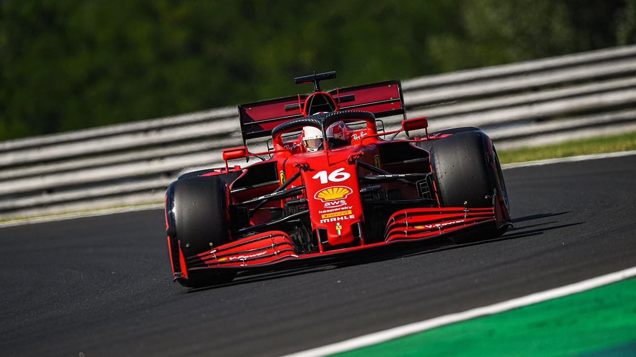 Charles Leclerc and Carlos Sainz completed a total of 62 laps in the second free practice session for the Hungarian Grand Prix, setting the 11th and 12th fastest times respectively.