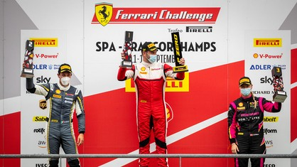 John Wartique and Sergio Paulet came out the two winners of Race 1 in the Trofeo Pirelli and Am class of the Ferrari Challenge Europe at Spa. It was an intense, hard-fought race, as the drivers who accompanied the two winners on the podium will attest to.