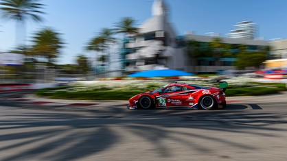 Scuderia Corsa finished 10th in the competitive GT Daytona class as Ferrari returned to the IMSA WeatherTech SportsCar Championship in Saturday's SportsCar Grand Prix on the streets of Long Beach, located near the team's dealerships and fan base.