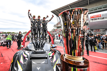 Alessandro Pier Guidi, Nicklas Nielsen and Côme Ledogar secured the title with seventh place in the 3 Hours of Barcelona, the final round of the GT World Challenge Europe Endurance Cup.