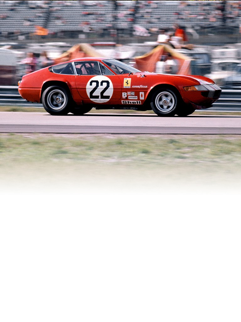 This Ferrari 365 GTB4 Competizione model, also known as the Daytona in recognition of the P4's victory, enjoyed a successful career