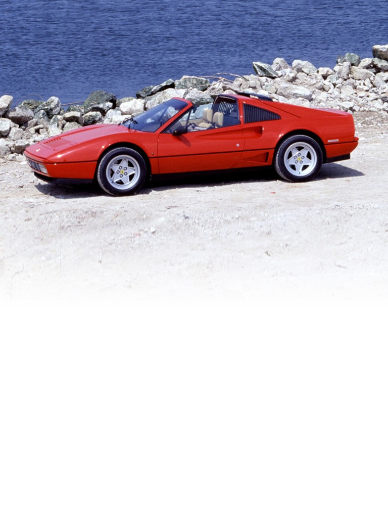 Ferrari GTS Turbo: The convertible version of the GTB Turbo was fitted with the same engine and offered similar out-and-out performance. The body styling and cabin were the same as the 328 series and included all the latest aerodynamic and ergonomic improvements added by Pininfarina.