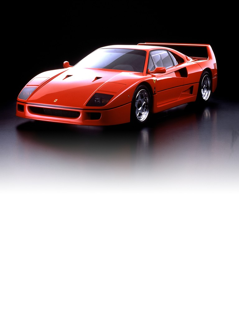 The Ferrari F40 was built to celebrate Ferrari's 40th anniversary. A very fast berlinetta designed by Pininfarina, it was built mainly from composites. Its sophisticated high-performance, turbo-charged running gear combined with a first class chassis gave it the kind of great dynamic prowess that was close to that of a racing car.