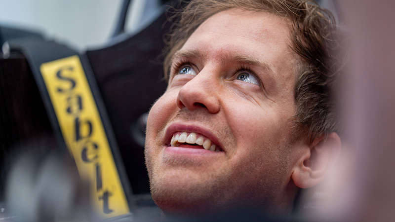 Seb sits in new car for first time