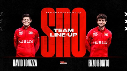 Ferrari Driver Academy (FDA) Hublot Esports team standard bearers, David Tonizza and Enzo Bonito are ready for the fourth round of the SRO E-Sport GT Series, the virtual version of the GT World Challenge Europe championship, this Sunday, using Spain's Barcelona-Catalunya circuit layout.