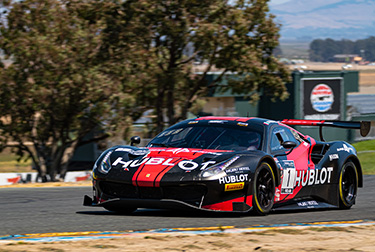 A suspension issue cost Squadra Corse a second-consecutive victory in Sunday's closing race of the Showdown in the Golden State, although drivers Martin Fuentes and Rodrigo Baptista maintained the Pro-Am points lead in the SRO GT World Challenge America.
