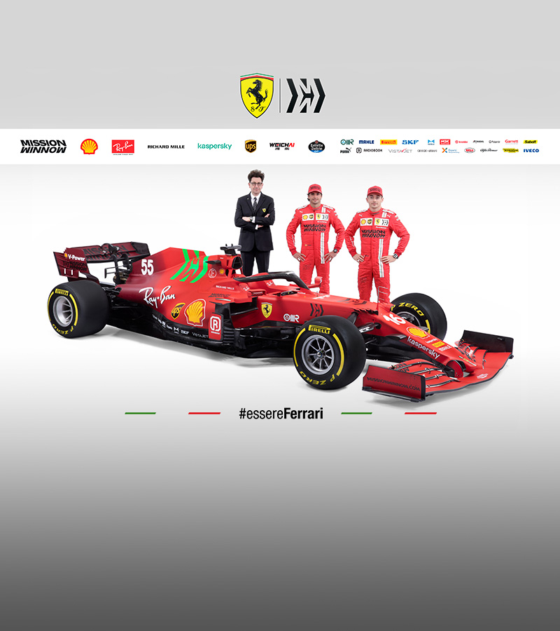 A livery blending two shades of red for the 2021 car, aimed at the future, while not forgetting our history.
